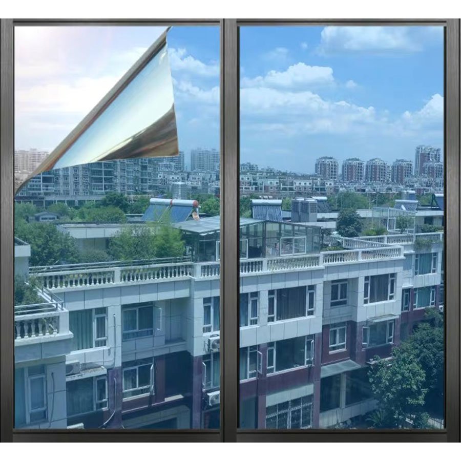 One Way Solar Mirror Decorative Film Privacy Self-adhesive Window Film Glass Sticker Tint Reflective Home Office Building Decor