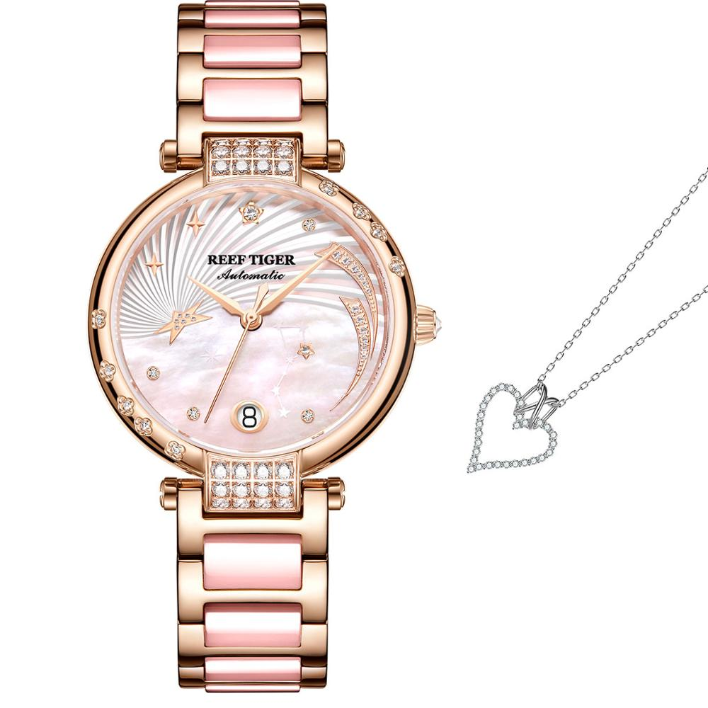 2021 Reef Tiger Fashion Glaxy Watches And Fashion Necklace Jewelry Set
