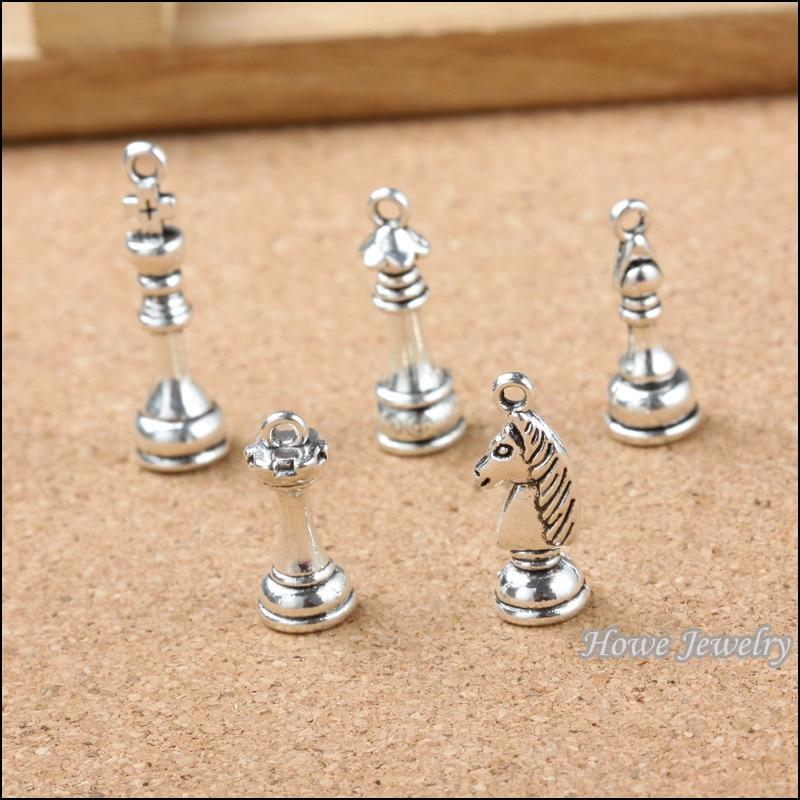 40 pçs encantos do vintage internacional xadrez pingente de prata antiga ajuste pulseiras colar diy jóias de metal fazendo 20125