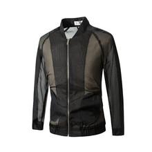Wholesale hollow mesh see-through baseball collar sun protection jacket rotator cuff jacket Dropshipping brand zipper top coat