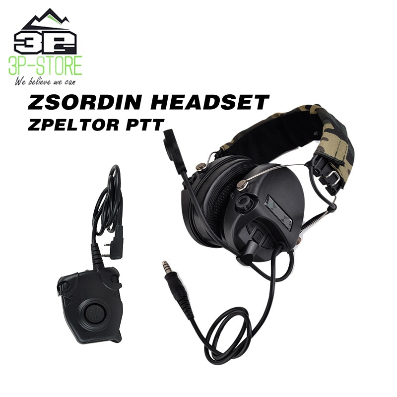 Auriculares de caza WADSN Sordin antiruido con Peltor táctico PTT versión militar estándar WZ111-BK + WZ112-KEN