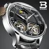 BINGER – montre automatique pour homme accessoire de mode Double Tourbillon mécanique cuir Original