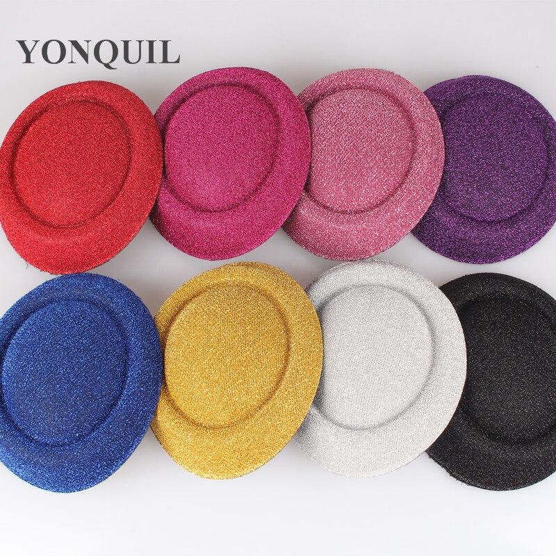 6,3 дюйма (16 см) 8 цветов, Мини Топ, шляпа, Вуалетка, основа для детской вечеринки, блестящие шляпы для женщин, поделки, аксессуары для волос 12 шт....