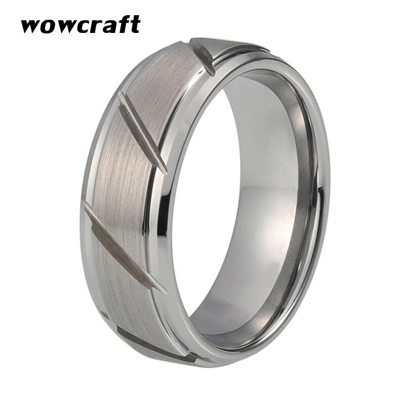 Anillo de carburo de tungsteno 8mm anillos redondos de corte brillante mate cepillado para hombre anillo de boda ranurado bordes biselados