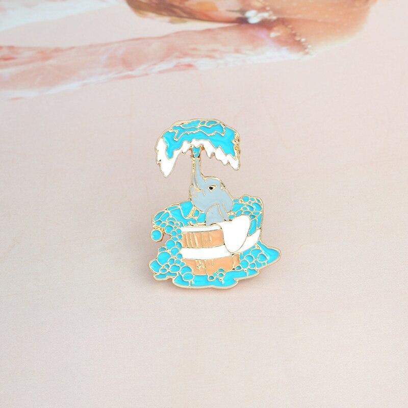 Мультфильм Милая Ванна слон эмалированная брошь на булавке синий животное брошь с иконкой для куртки рюкзак для рубашки булавка кнопка, мет...