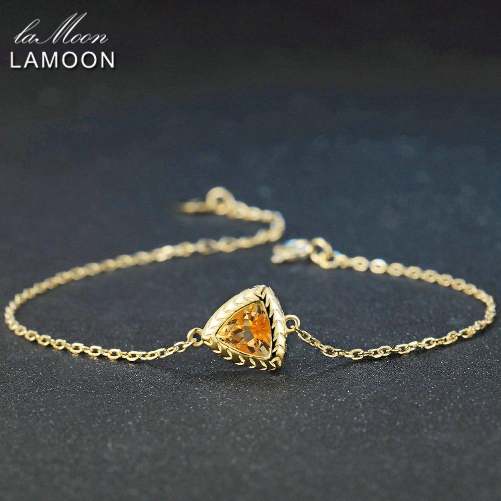 LAMOON, pulsera de plata de ley 925, pulsera de piedras preciosas citrinas para mujer, pulsera de diseño de joyería fina chapada en oro de 14K, LMHI044