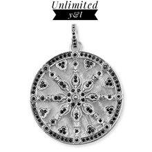 Karma Wheel Disc Pendants Mother of Peal Shell Black CZ 925 Silver Thomas Style Fashion DIY Jewelry Making Necklace Women Men