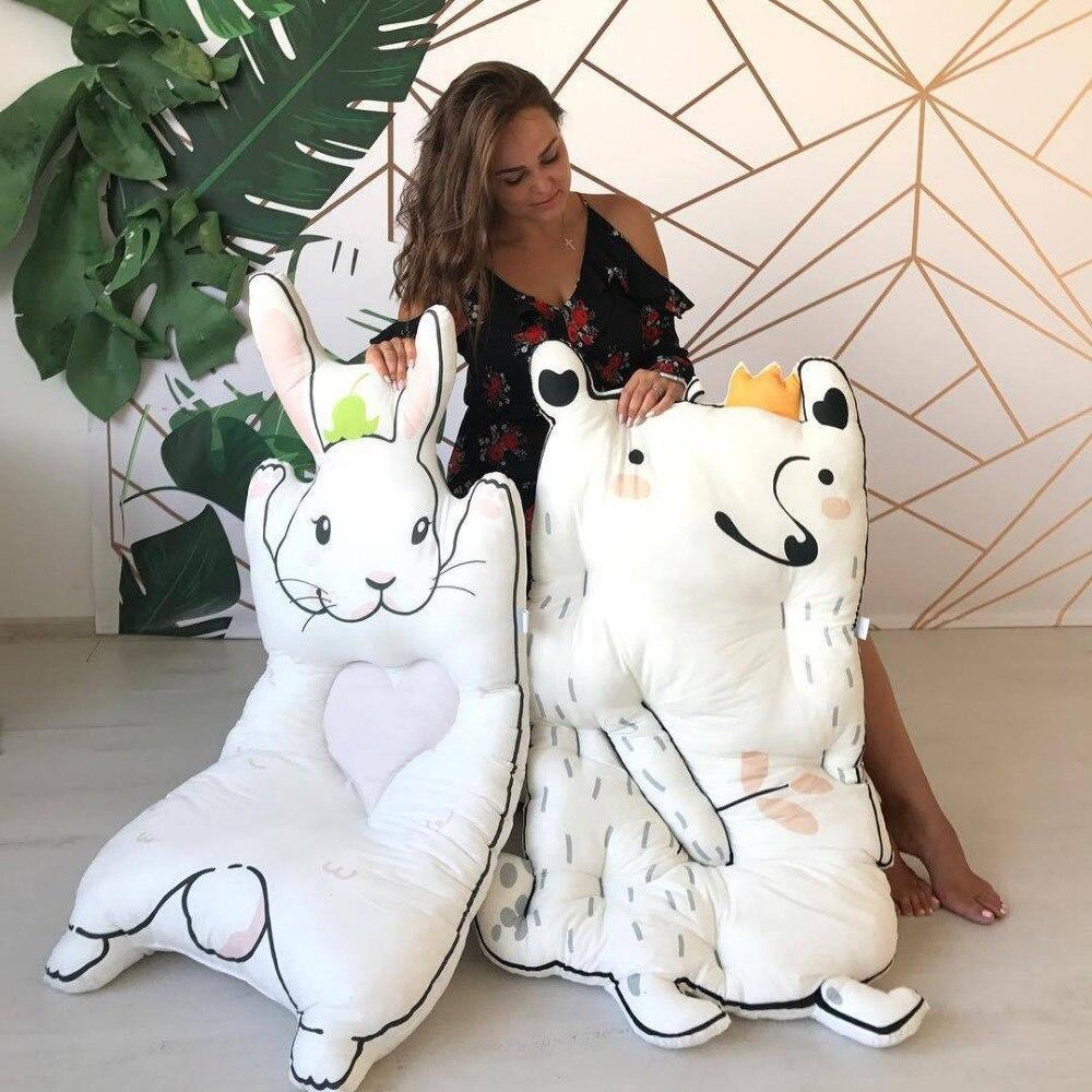 C Forma de Animais Dos Desenhos Animados Coelho Guaxinim Acolchoado Tapetes de Jogo Bebê Engatinhando Tapete Cobertor Crianças Criança Pad Bed Room Decor Nórdico estilo