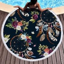 SOFTBATFY, colección de atrapasueños, toalla de playa redonda de felpa gruesa con borla, esterilla de Yoga, cubierta de playa, Dropshipping