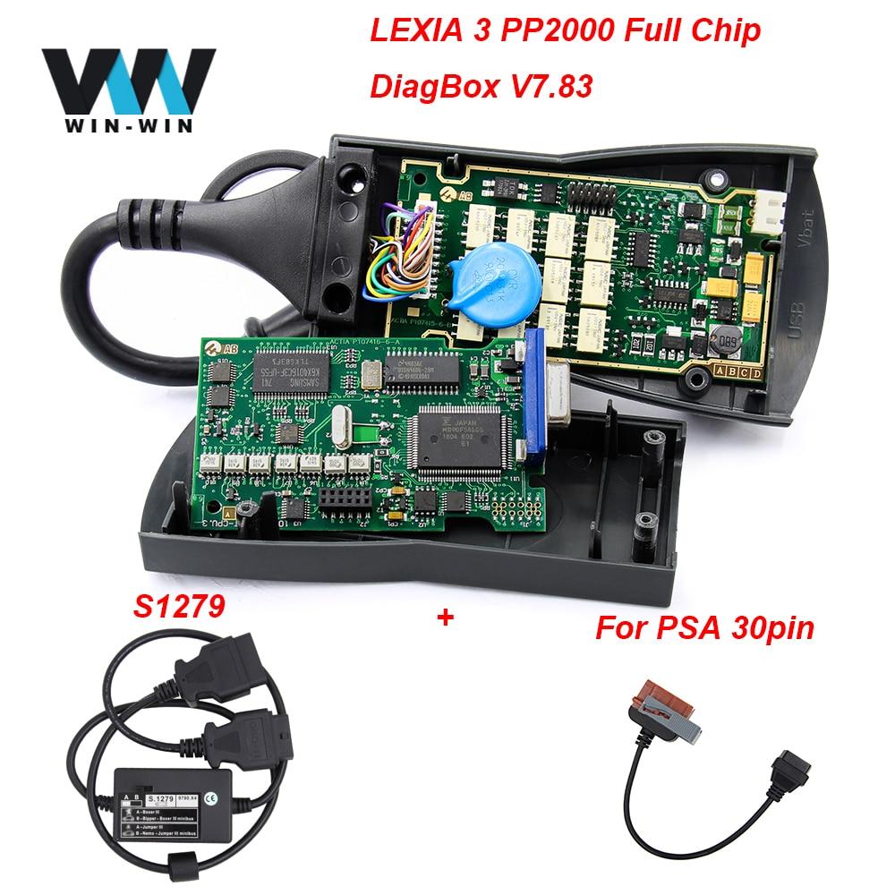 Lexia 3 PP 2000 Diagbox V7.83 921815C oro Full Chip Lexia3 PP2000 S1279 30Pin para PSA OBD OBD2 herramienta de diagnóstico automático escáner de coche