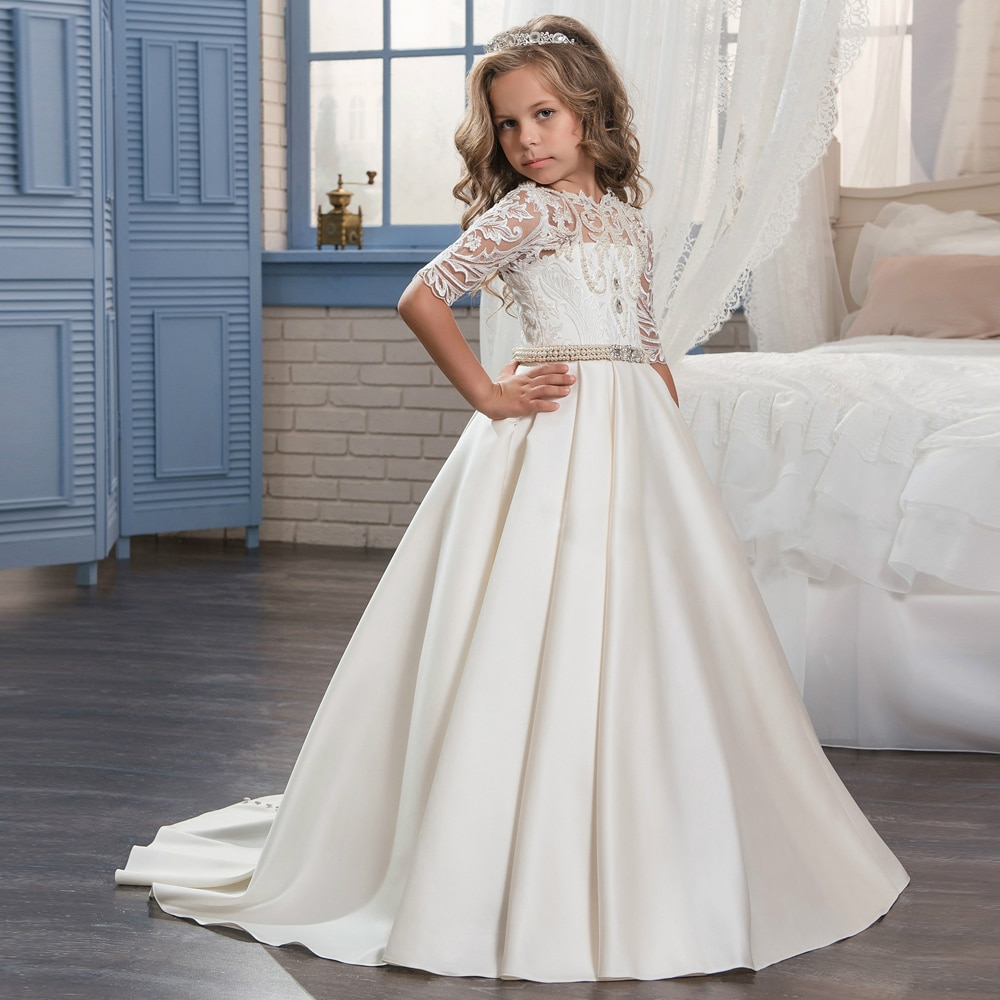 New Flower Girl Dresses Half Sleeves O-neck Beading Ball Gown Solid Formal First Communion Gowns Custom Made Vestido Longo