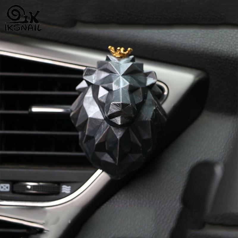 IKSNAIL coche fragancia León Wolf 3D figura geométrica de animal Avatar yeso de aromaterapia difusor de aceite esencial de piedra de salida de aire adornos