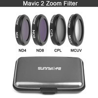 sunnylife DJI Mavic 2 Zoom Camera Lens Filter Set kit MCUV/ CPL/ ND4/ND8 for DJI Mavic 2 Zoom Drone Accessories