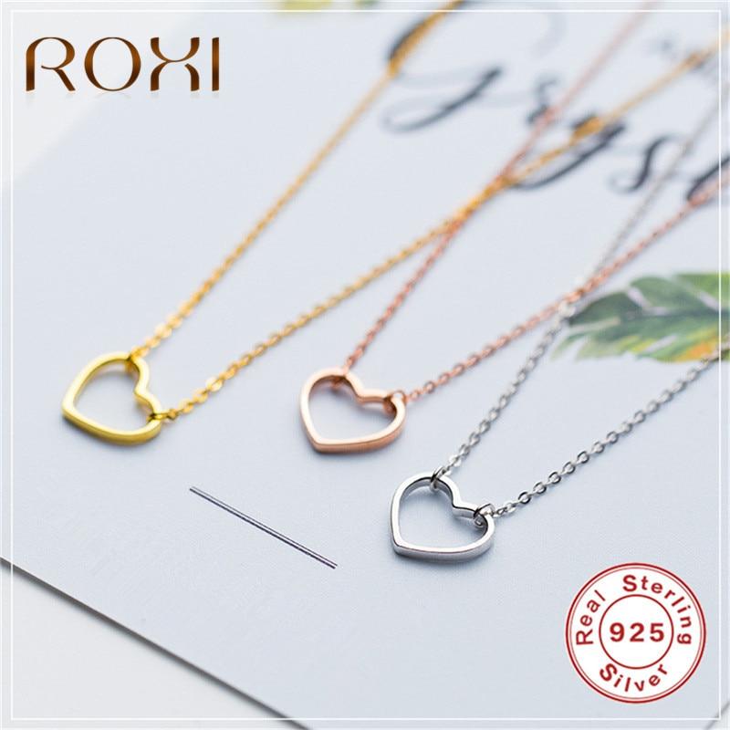 ROXI Echt 925 Sterling Silber Halskette Edlen Schmuck Hohl Herz Anhänger Halskette Nette Collier Femme Geschenk Mädchen kragen mujer