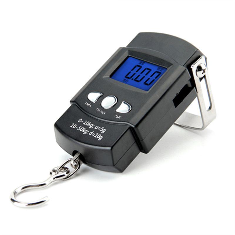 Fishing Postal Portable Backlit LCD Display 110lb/50kg Electronic Balance Digital  Hanging Hook Scale with Measuring Tape enlarge