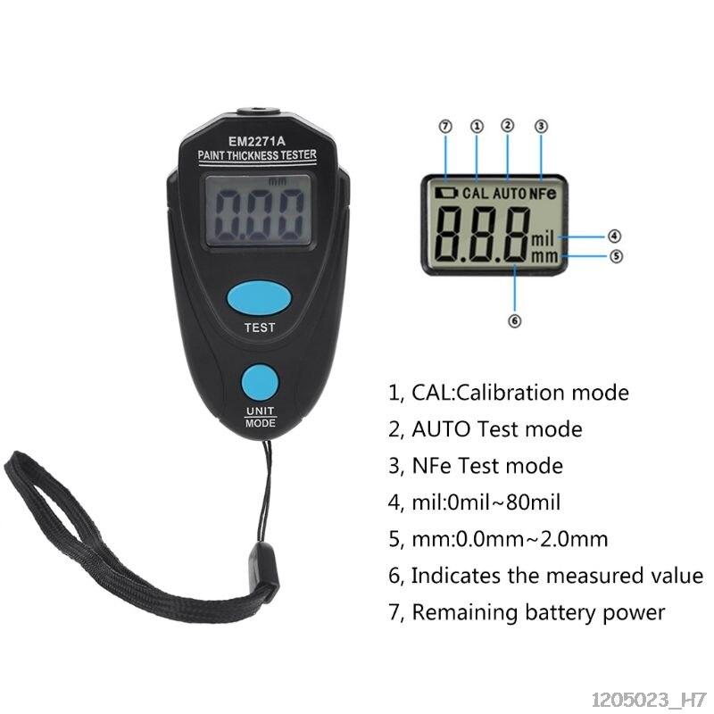 Medidor de espesor de pintura de automóvil EM2271A Digital Fe/NFe 0,00-2,20mm
