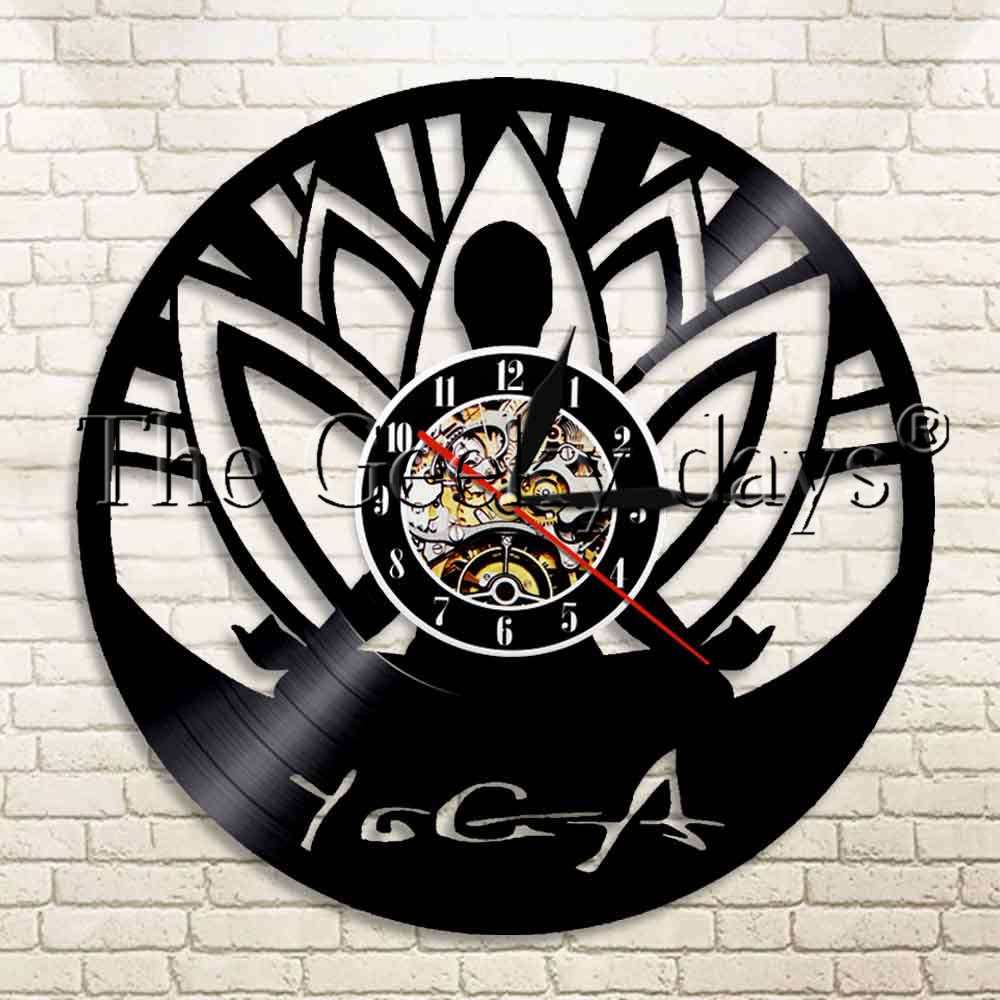 1 pieza Mandala Yoga auto-conocimiento práctica vinilo disco Reloj de pared meditar flor de loto Zen Buddha Spirit Reloj de pared deportivo moderno