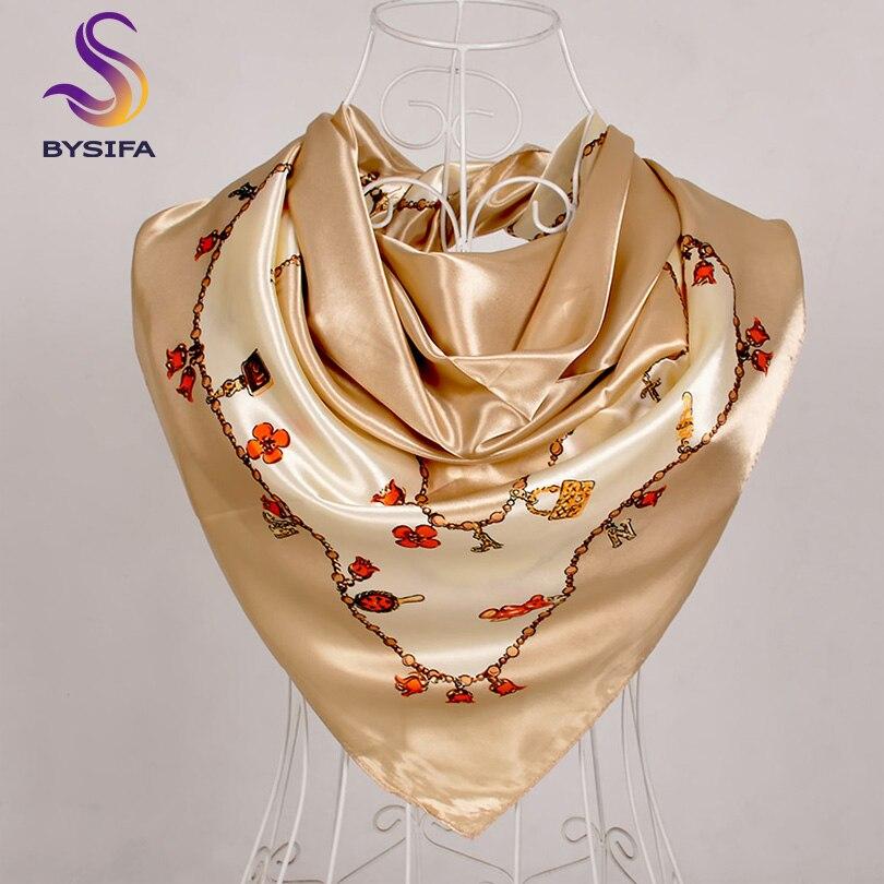 [BYSIFA] chales de mujer Foulard Femme 2019 nuevo pañuelo de seda satinada de color caqui diseño Floral de otoño bufandas cuadradas femeninas pañuelo Sjaal