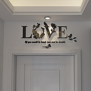 Romantic Love Decoration Luxury Acrylic 3D Wall Stickers For Living Room Bedroom