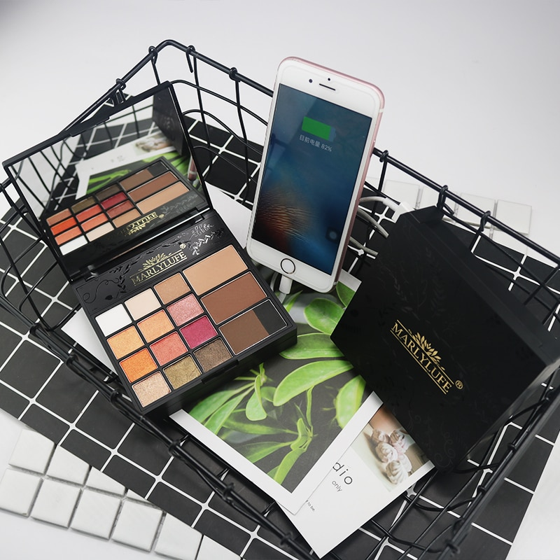 Marlylufe marca conjunto de maquiagem fosco sombra pressionado pó profissional cosméticos com função de carregamento caso preto por fábrica
