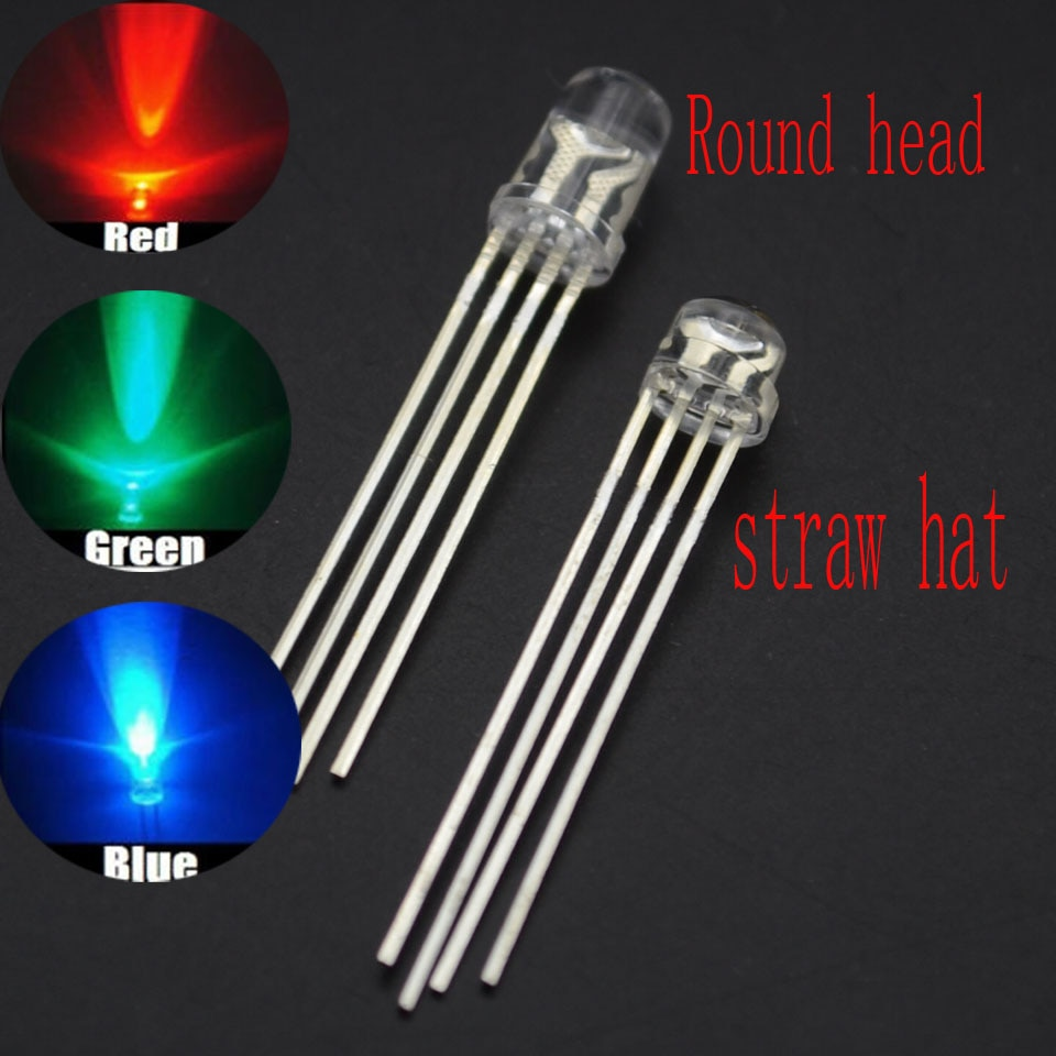 50 Uds. 5 MM/F5 LED transparente a todo color un total de cuatro pies RGB controlable colorido diodo emisor de luz LED RGB 5MM