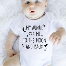 My auntie take me to the moon and back print baby rompers short sleeve newborn clothing infant rompe