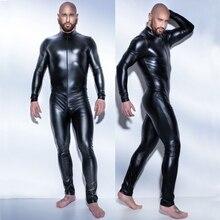 Hommes Sexy Wetlook Faux cuir Latex Catsuit body chaud érotique Lingerie zentai gay fétiche porter pvc costume ouvert entrejambe Clubwear