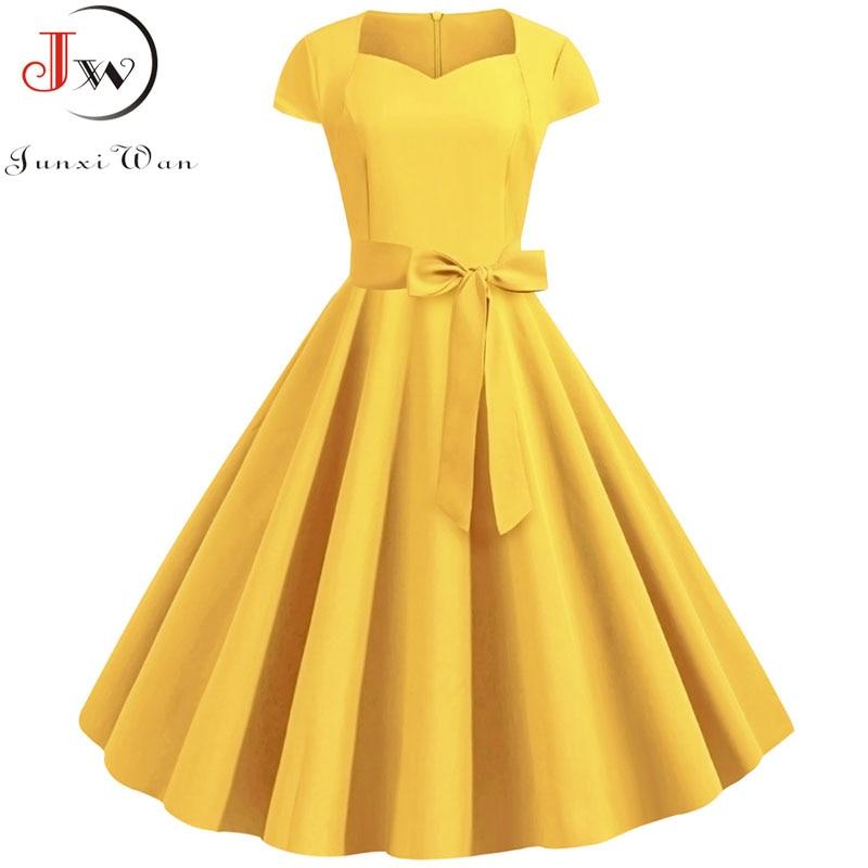 aliexpress.com - Summer Solid Yellow Color 50s 60s Vintage Dress Women Short Sleeve Square Collar Elegant Office Party Midi Dresses Belt