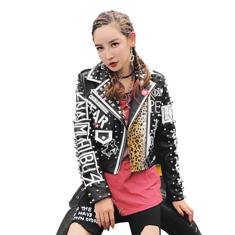 High Street Fashion Brand Women Rivets Leopard print PU Faux Leather motorcycle jacket Coats punk rock Graffiti Outerwear