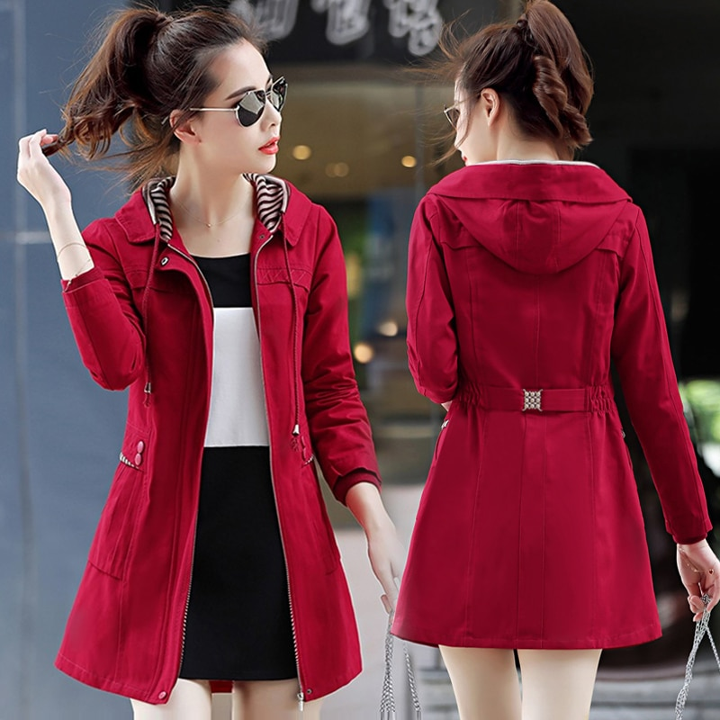 Abrigo largo rompevientos auténtico para mujer, abrigo nuevo de primavera, chaqueta salvaje para mujer europea y americana, chaqueta a la cintura tide Ms