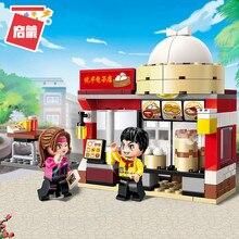 Enlighten Building Block Colorful City Gloden Baozi Shop 2 Figures 122pcs Educational Bricks Toy Boy Gift-No Box