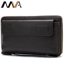 MVA Long portefeuille mâle en cuir véritable hommes pochette pour porte-monnaie hommes portefeuilles à glissière crédit porte-carte affaires sacs dargent