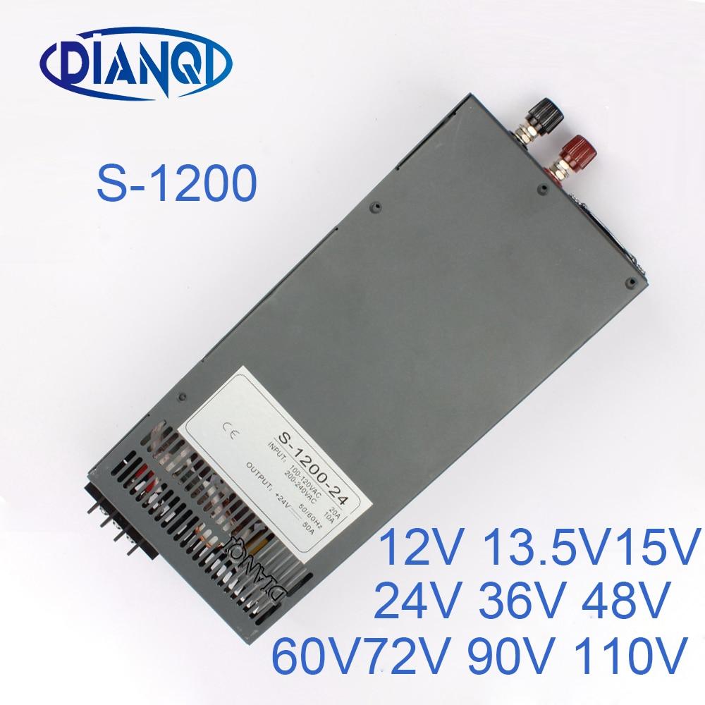 1200W 12V 72V 90V 110V قابل للتعديل تحويل التيار الكهربائي للضوء LED قطاع AC إلى DC سوبلي S-1200 DIANQI 13.5V 15V 24V