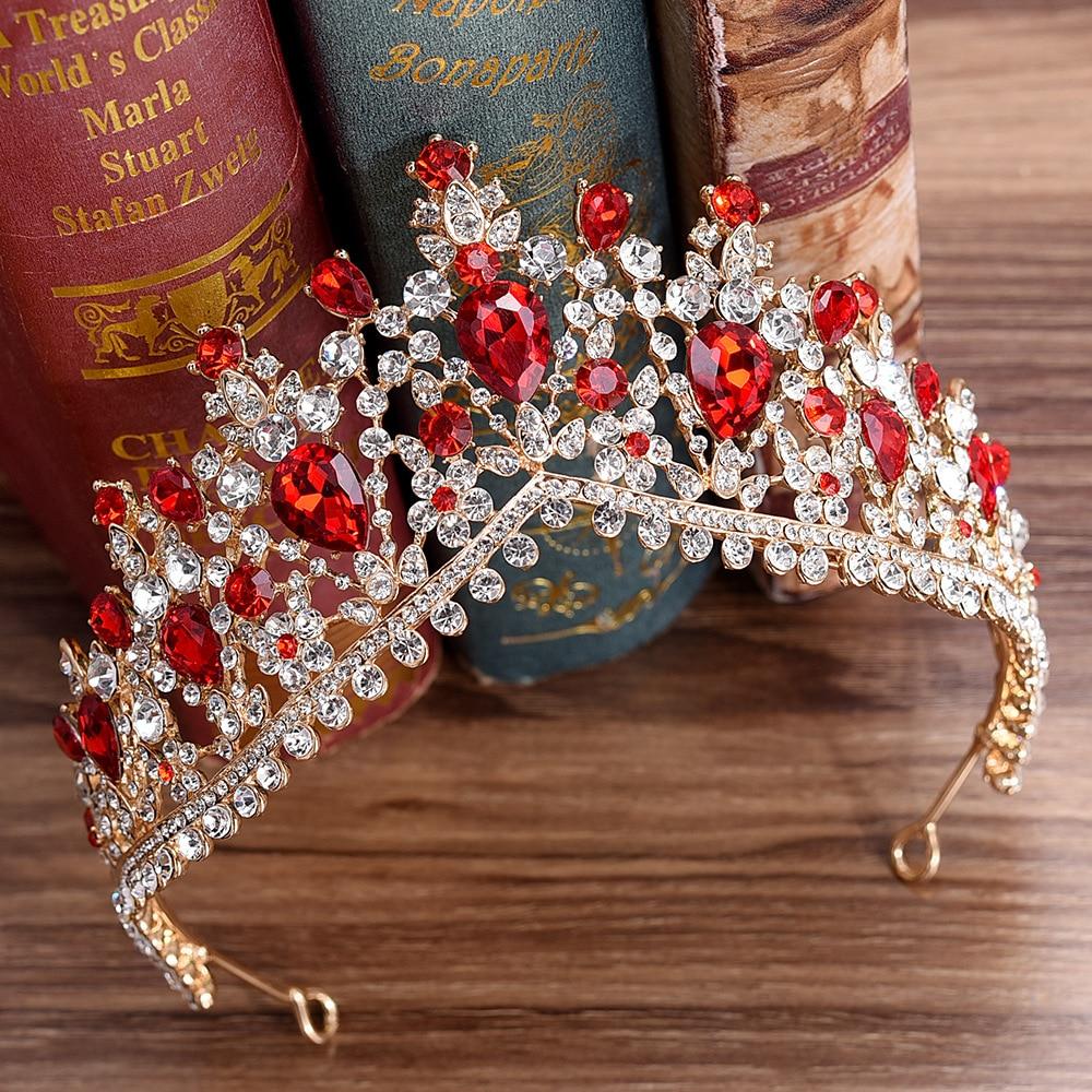 Newest Design European Red Crystal Crown Headwear Bridal Wedding Hair Accessories Jewelry Bride Tiaras Princess Crowns