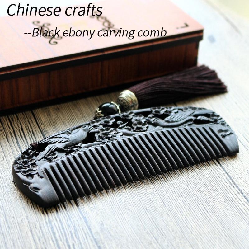 Artisanat chinois afrique ébène sculpté bois peigne Portable multifonction peigne haute qualité afrique ébène doré peigne Collection ForGift