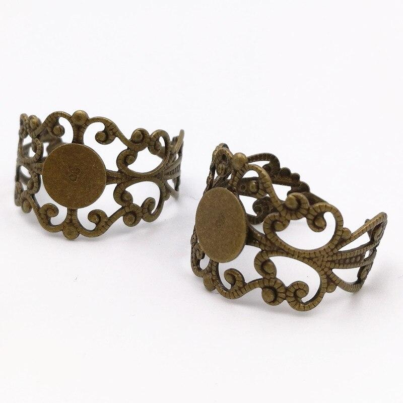 إعدادات مجوهرات افعلها بنفسك ، 100 قطعة من حلقات نحاسية عتيقة بنمط زهرة البرونز ، 10 مللي متر ، حلقة إصبع قابلة للتعديل ، إعداد قاعدة النقش
