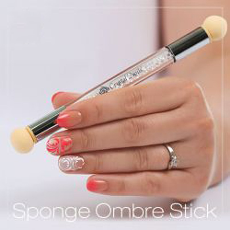 1 pincel de uñas, Franterd doble punta Ombre Stick Nail Art esponja cepillo para DIY gradiente de floración UV Gel herramientas de decoración de uñas (1, A)