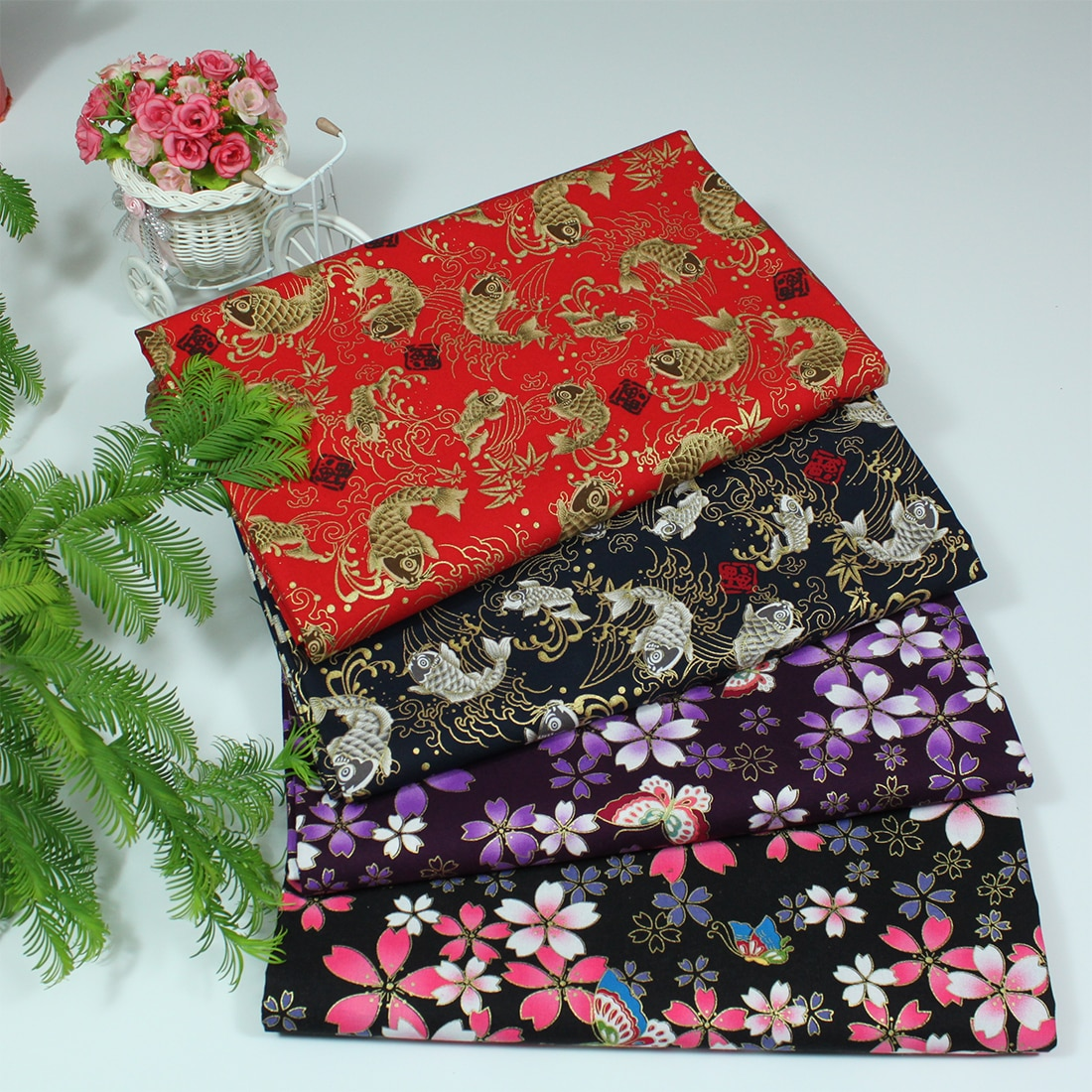 100% de algodón satinado, estilo japonés bronce, carpa, Sakura, telas de mariposa para mantel DIY, manualidades, colchas hechas a mano, decoración