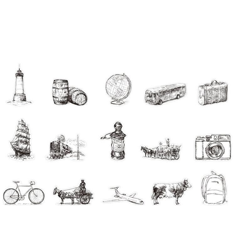 45 unids/set creativo viaje diario serie papel pegatina decoración DIY arte artesanal pegatina
