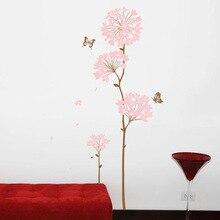 Autocollant en vinyle fleur papillon rose   Grande étiquette pour chambre à coucher salon, décoration de la maison, autocollant Mural, Art amovible en PVC