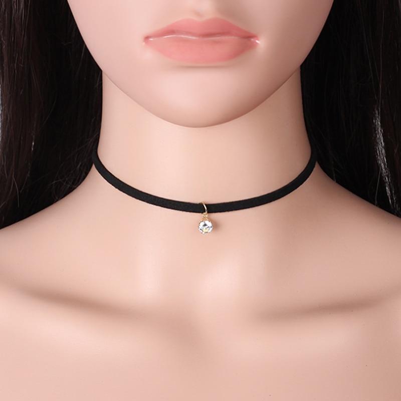 Pomaston gargantilha feminina de strass, joias corda veludo preto, gargantilha com pingente collier femme 2018