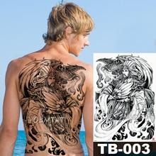 48*35 cm samurai Wisdom Warrior large tattoo stickers waterproof temporary flash tattoo full back Phoenix body art for men wome