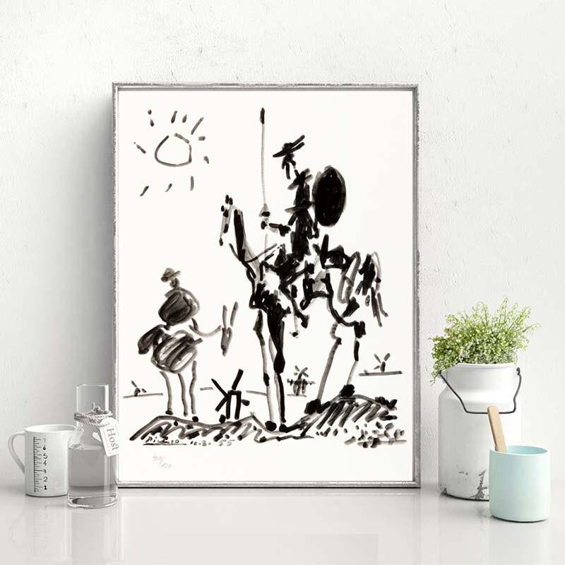 Cuadro en lienzo minimalista de Don Quijote de Pablo Picasso, cuadro decorativo para decoración del hogar o dormitorio