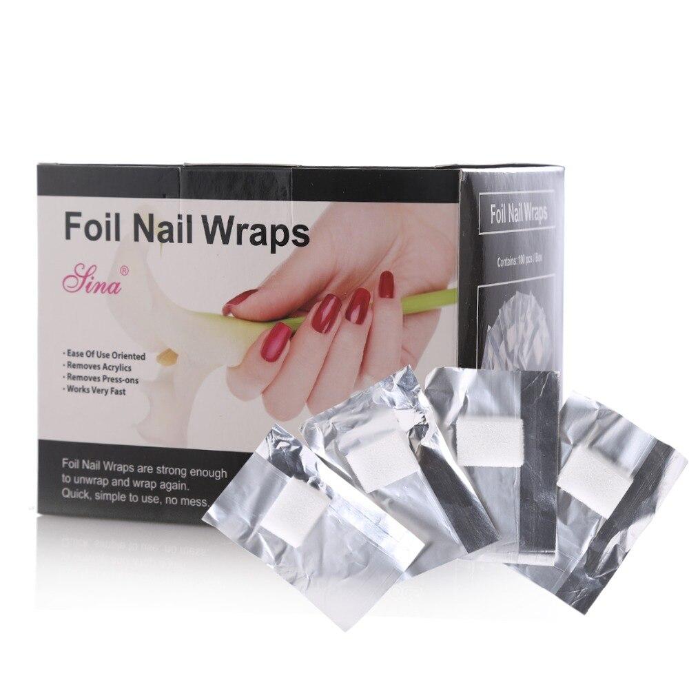 Mezcla SEXY 100 unids/caja papel de aluminio envolturas de uñas hoja de algodón papel de aluminio arte de uñas Soak Off Gel de eliminación de la lámina de patrón Wraps