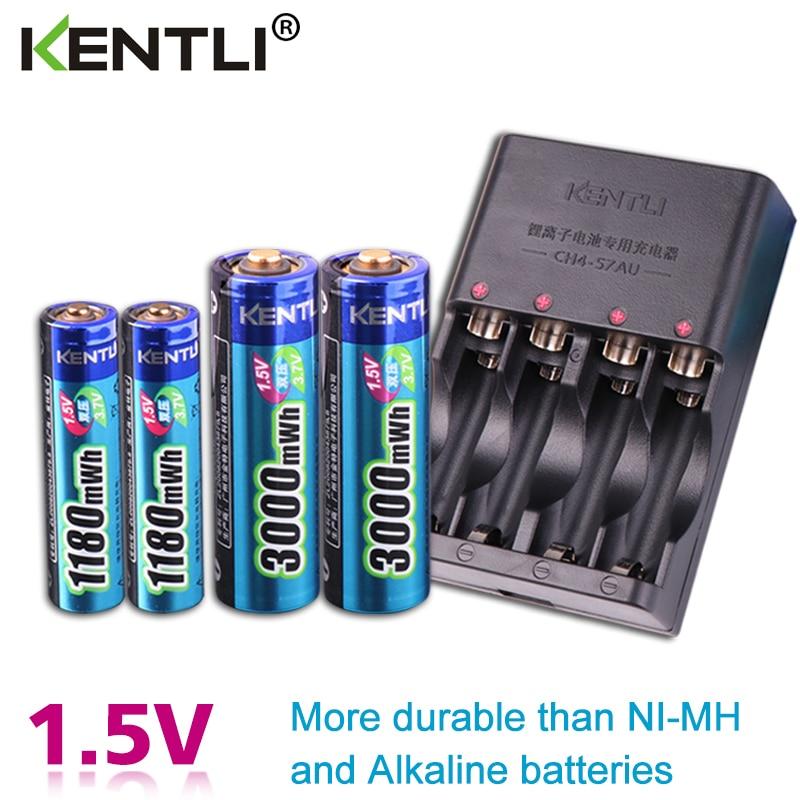 KENTLI 4 Uds 1,5 v aa aaa baterías recargables Li-ion li-polímero litio batería de litio + 2 ranuras AA AAA litio li-ion cargador inteligente