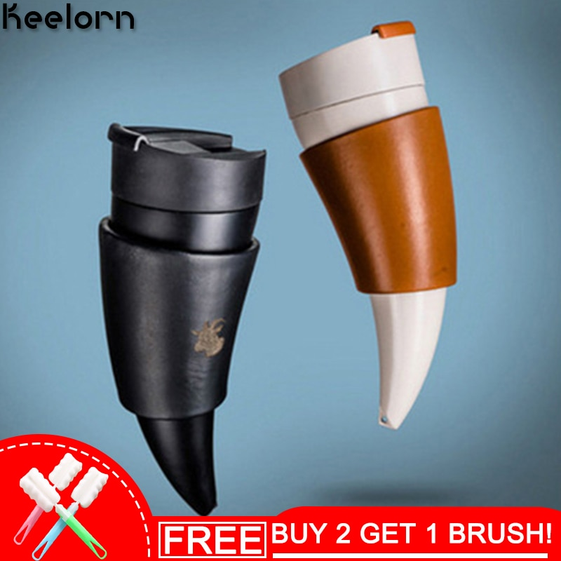 Keelorn 320 مللي مكنسة من الفولاذ المقاوم للصدأ زجاجة الإبداعية الماعز القرن القهوة القدح الرياضة الترمس الشرب المباشر المحمولة فراغ كوب