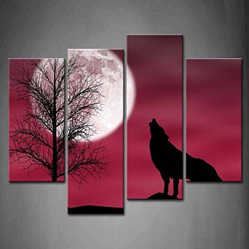 Conjunto de 4 unidades de lienzo de pared de animales, cuadro de...