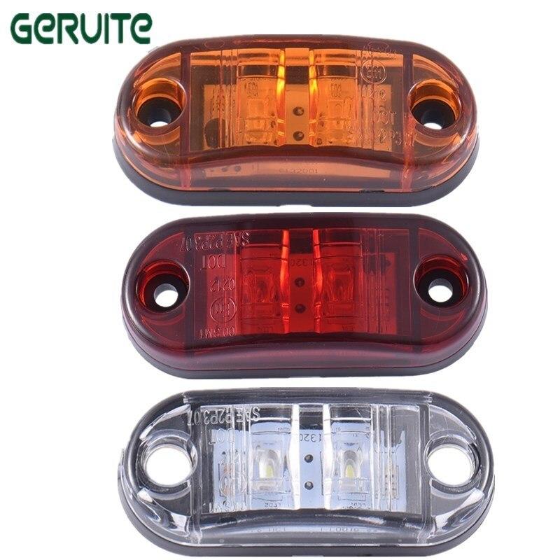 2pcs LED Side Marker Blinker Light Waterproof ABS Piranha Brake Signal Lamp 12/24V White Yellow Red For Car Truck Trailers
