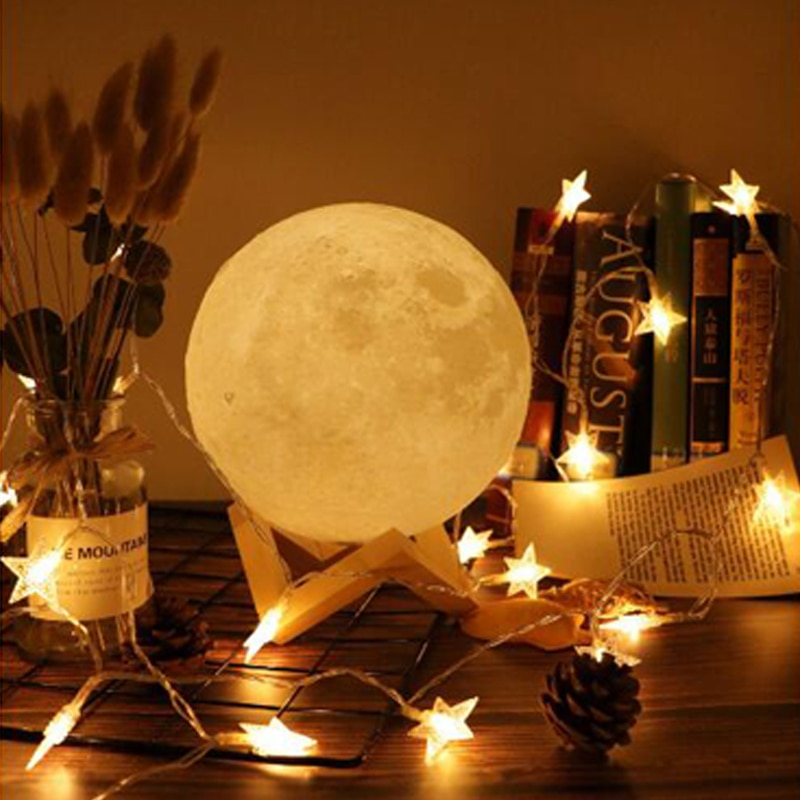 Night Lamp Rechargeable 3D Print Moon Lamp 16 Color Change Touch Switch Bedroom Bookcase Night Light Home Decor Creative Gift