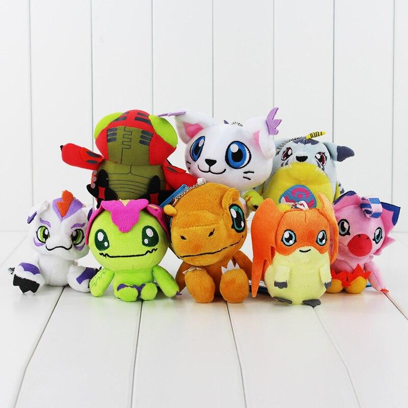 8 видов стилей Аниме Digimon Agumon Gabumon Tailmon Tentomon Gomamon Piyomon Palmon Patamon брелок для ключей плюшевая игрушка мягкая подвеска